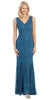 V Neck Sleeveless Floor Length Teal Mermaid Party Gown