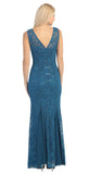 V Neck Sleeveless Floor Length Teal Mermaid Party Gown Back