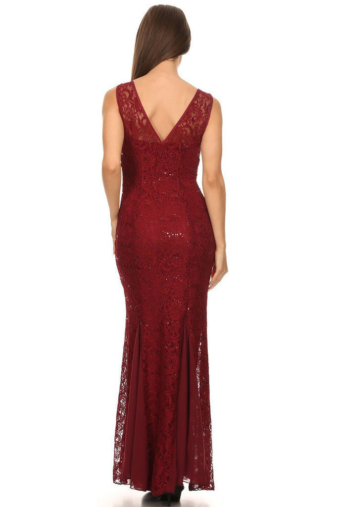 V Neck Sleeveless Floor Length Burgundy Mermaid Party Gown Back