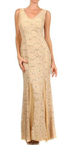 V Neck Sleeveless Floor Length Gold Mermaid Party Gown