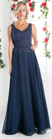 V-Neck Sleeveless Mother of the Bride Dress Navy Blue Long