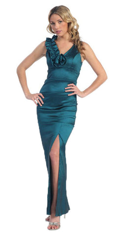 V-Neckline Pleated Ruffled Strap Long Formal Dress Teal Green Taffeta Rosette