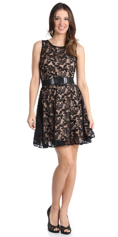 Vintage Black Lace Dress Overlay Taupe Sleeveless Short Black Belt