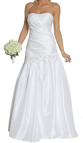 White Prom Gown Taffeta Strapless Shirred Bodice Full Length Gown