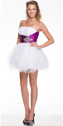 White Purple Homecoming Dress Satin Waist Tulle Skirt Strapless