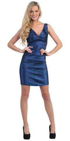 Wide Strap Navy Blue Cocktail Club Dress V Neck Sexy Tight Form Fit