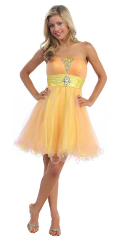 Yellow/Pink Tulle Dress Poofy Short Strapless Beading Empire Waist