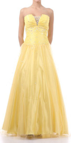 Yellow Princess Poofy Gown Tulle Skirt Strapless Bead Rhinestones