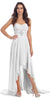 Off White Bridesmaid High Low Dress A Line Chiffon Sweetheart