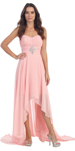 Blush Bridesmaid High Low Dress A Line Chiffon Sweetheart