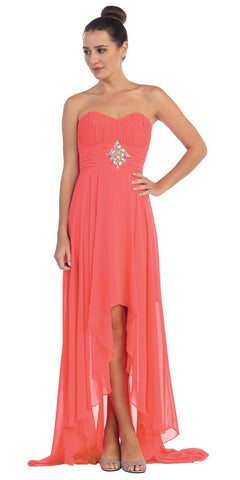 Coral Bridesmaid High Low Dress A Line Chiffon Sweetheart