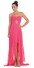 Fuchsia Bridesmaid High Low Dress A Line Chiffon Sweetheart