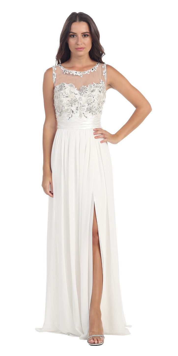 White Formal Evening Gown Front Slit Sleeveless Bateau Neck