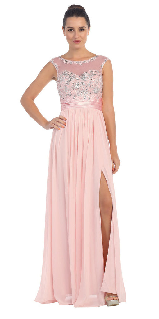 Blush Formal Evening Gown Front Slit Sleeveless Bateau Neck