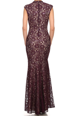 Cap Sleeve Lace Sheath Mermaid Dress Plum Gold High Neck