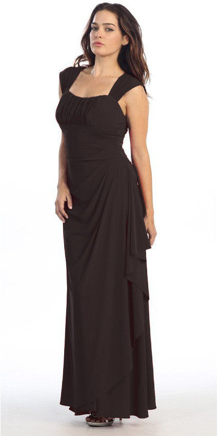 Cap Sleeved Side Gathered Floor Length Black Formal Gown
