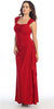 Cap Sleeved Side Gathered Floor Length Red Formal Gown