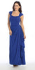 Cap Sleeved Side Gathered Floor Length Royal Blue Formal Gown