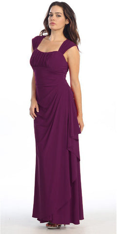 Cap Sleeved Side Gathered Floor Length Plum Formal Gown