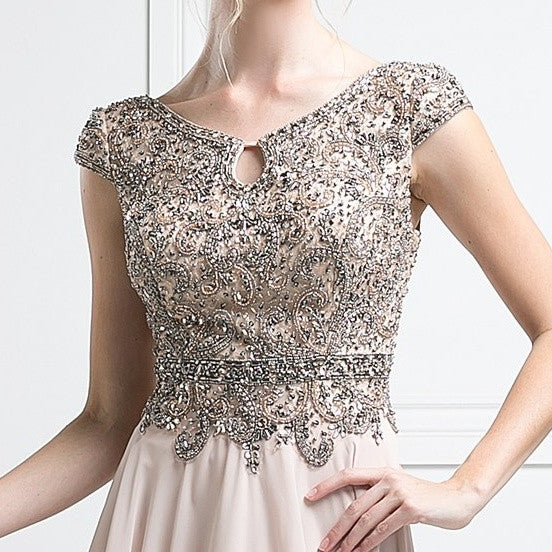 Cap Sleeves Beaded Bodice Evening Dress Champagne