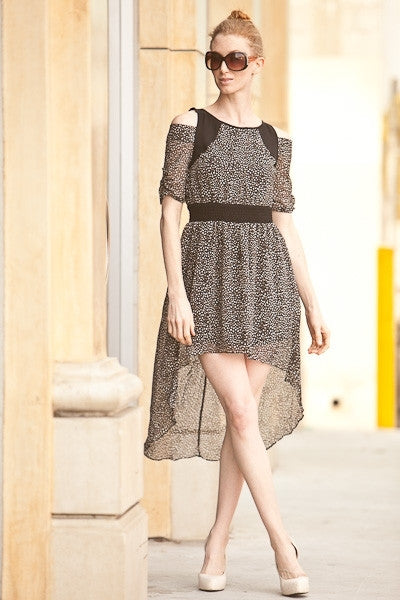 Casual Off Shoulder Double Layered Asymmetrical Black Dress High Low