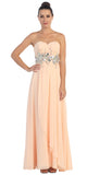 Chiffon Evening Gown Peach A Line Full Length Strapless Empire