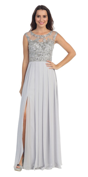 Starbox USA 6041-2 Chiffon Flowy Silver Evening Gown Long Cap Sleeve Bateau Neck
