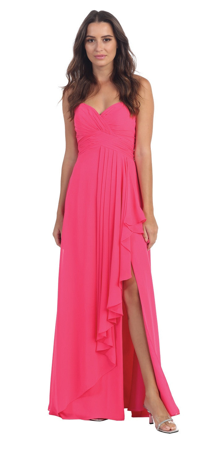Chiffon Front Slit Long Bridesmaid Gown Fuchsia Strapless