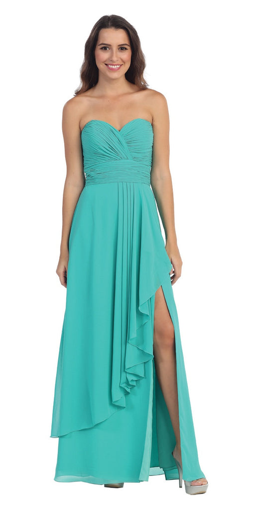 Chiffon Front Slit Long Bridesmaid Gown Jade Strapless