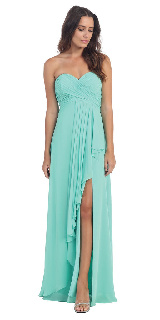Chiffon Front Slit Long Bridesmaid Gown Mint Strapless