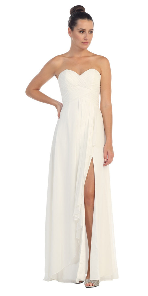 Chiffon Front Slit Long Bridesmaid Gown Off White Strapless