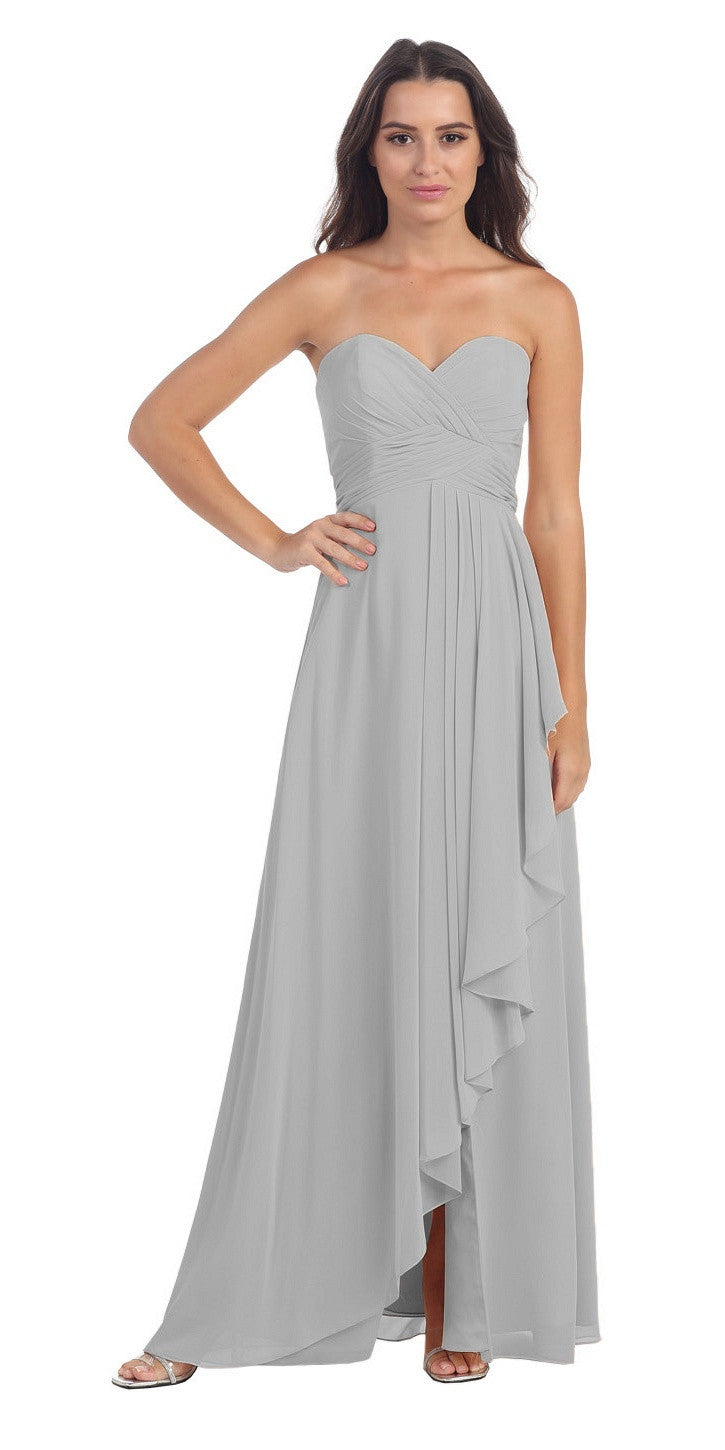 Chiffon Front Slit Long Bridesmaid Gown Silver Strapless