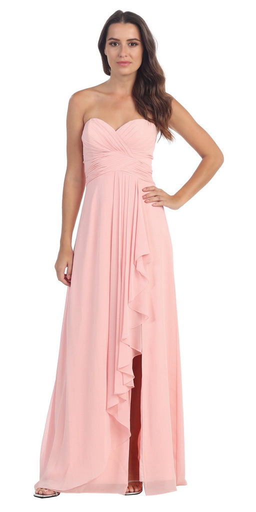 Chiffon Front Slit Long Bridesmaid Gown Blush Strapless