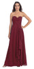 Chiffon Front Slit Long Bridesmaid Gown Burgundy Strapless