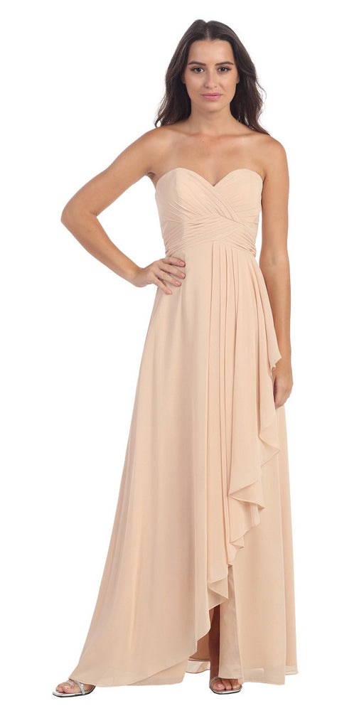 Chiffon Front Slit Long Bridesmaid Gown Champagne Strapless