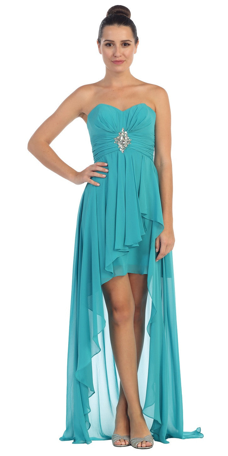 Chiffon High Low Jade Dress Strapless Rhinestone Center