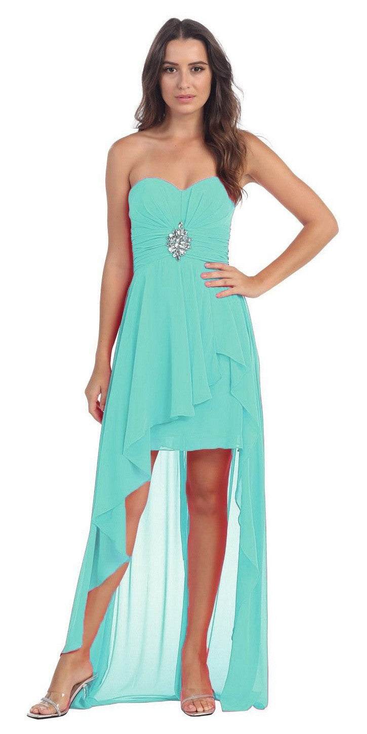 Chiffon High Low Mint Dress Strapless Rhinestone Center