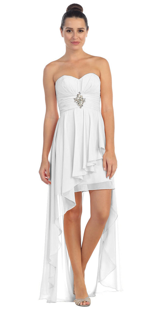 Chiffon High Low Off White Dress Strapless Rhinestone Center