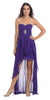 Chiffon High Low Purple Dress Strapless Rhinestone Center