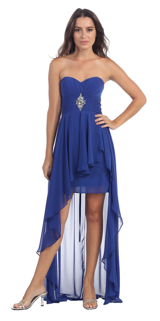 Chiffon High Low Royal Blue Dress Strapless Rhinestone Center