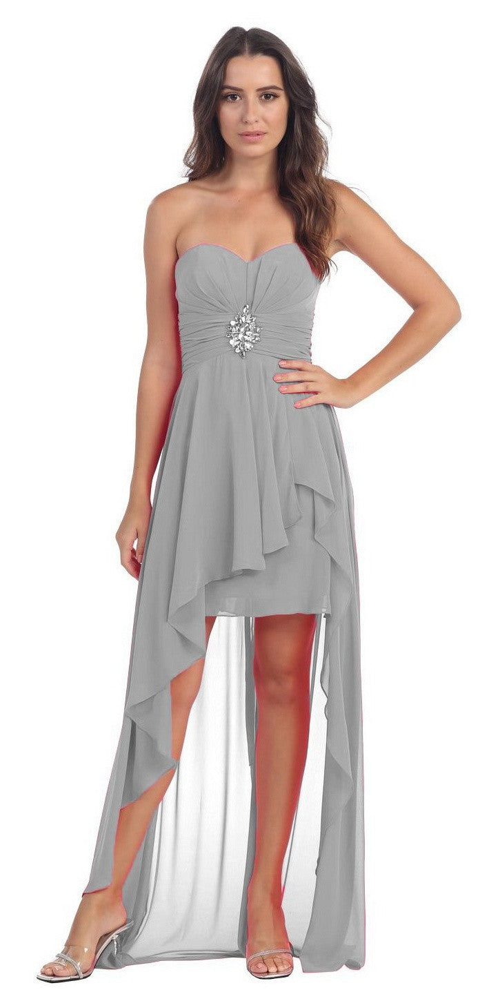 Chiffon High Low Silver Dress Strapless Rhinestone Center