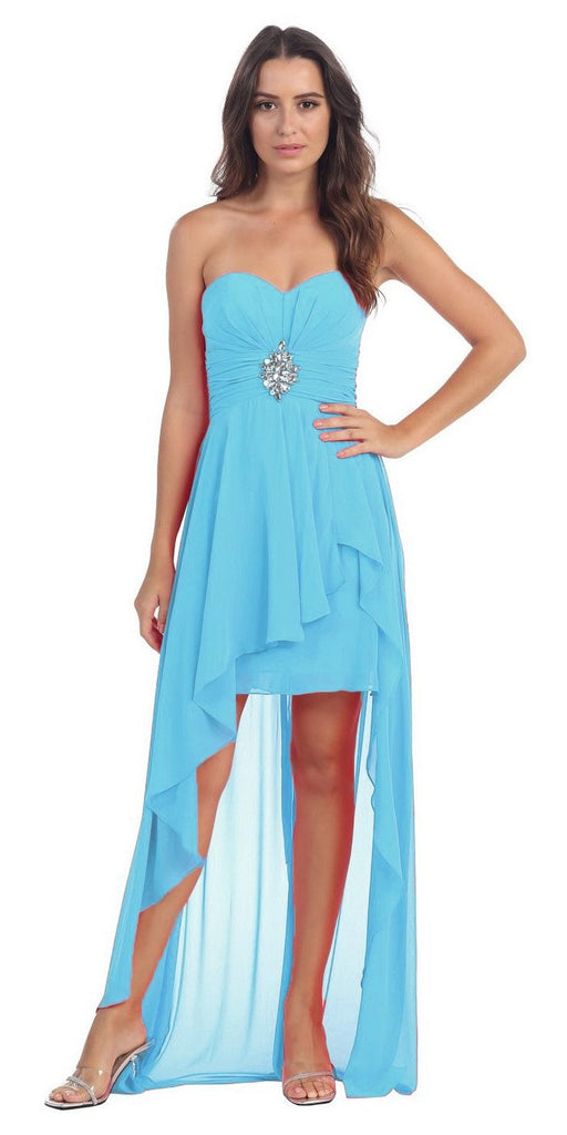 Chiffon High Low Turquoise Dress Strapless Rhinestone Center