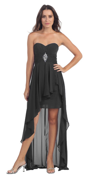Chiffon High Low Black Dress Strapless Rhinestone Center