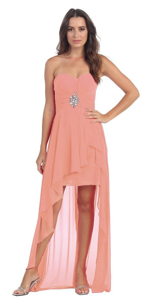 Chiffon High Low Blush Dress Strapless Rhinestone Center