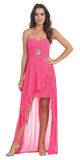 Chiffon High Low Fuchsia Dress Strapless Rhinestone Center