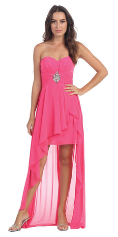 ON SPECIAL - LIMITED STOCK - Taffeta Fuchsia Dress Asymmetrical Ruffle Skirt Beaded Top Strapless