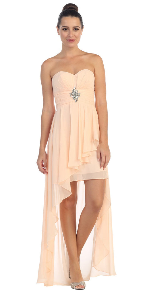 Chiffon High Low Peach Dress Strapless Rhinestone Center