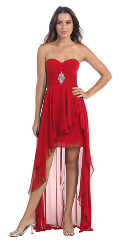 Bridesmaid Red Dress High Low Chiffon Strapless Flowers Bodice