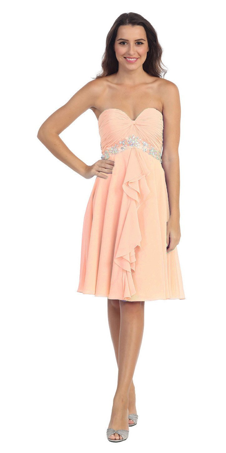100% top quality modern techniques reasonable price Chiffon Homecoming Dress Peach Short Strapless Ruffled Layers