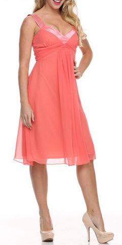 Chiffon Coral Dress Bridesmaid Knee Length Rhinestones Straps Gown